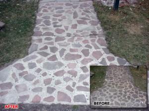 Sandblasted stone walkway